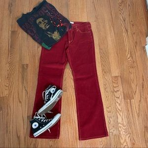 Gap Low Rise Red Corduroy Stretch Bootcoot Pants